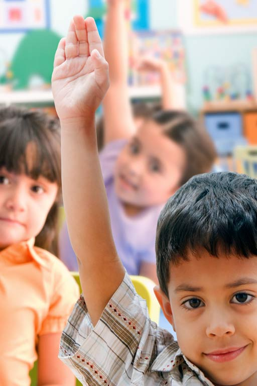 Students in a classroom raise their hands.